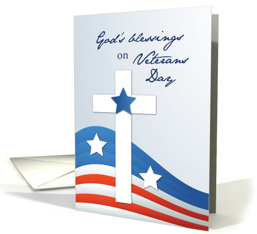 Religious Veterans Day Stars and Stripes with Cross card (1583890)