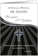 Custom Name Priest Silver Jubilee of Ordination 25 Year Anniversary Bl card