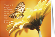 Happy Birthday for Friend, Butterfly with Flower, Religious card