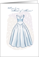 Will you be my Maid of Honor? Wedding with Dress Illustration card