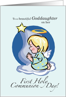 Goddaughter First Communion with Angel, Star and Cloud, Religious card