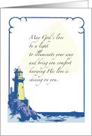 Religious Encouragement with Lighthouse and Light, God card