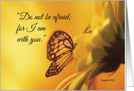 Get Well with Butterfly on Flower, Religious Encouragement card