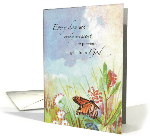 Religious Encouragement with Butterfly and Flowers card (179178)