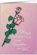 Daughter and Son-in-Law Happy Wedding Anniversary With Roses card