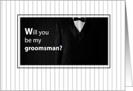 Groomsman Invitation with Black and White Tuxedo card