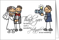 Thank You to Photographer with Stick Figures, Wedding card