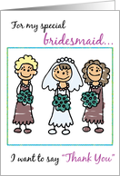 Thank You to Bridesmaid with Stick Figures, Wedding card