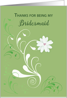 Thank You to Bridesmaid with White Flower, Wedding Day card