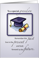 Graduation Congratulations for Grandson with Cap and Diploma card