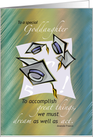 Goddaughter, Graduation Congratulations, Hats in Air card