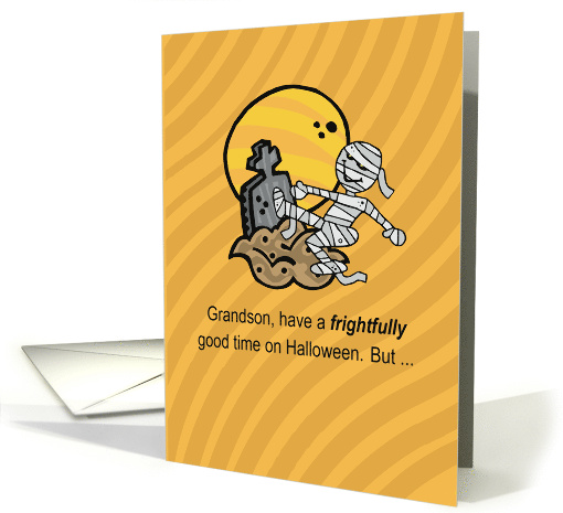 Happy Halloween for Grandson with Mummy, Grave and Moon card (234238)