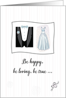 Wedding Congratulations for Bride & Groom with Bridal Gown and Tuxedo card