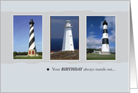 Happy Birthday with Lighthouses, Nautical card