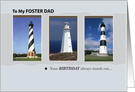 Happy Birthday for Foster Dad with Lighthouses, Nautical card