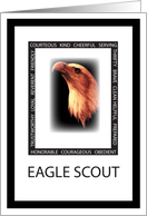 Congratulations for Eagle Scout with Eagle Face and Virtues card