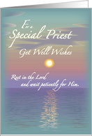 Get Well Wishes for a Priest, Religious Encouragement, Sunset and Sea card