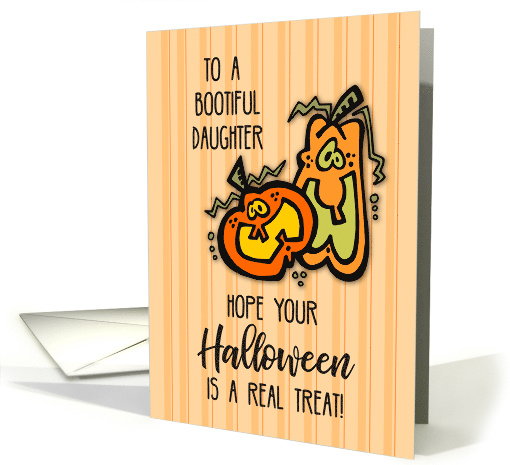 Daughter on Halloween with Orange Pumpkins, Funny card (264306)