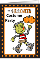 Halloween Costume Party Invitation with Frankenstein and Pumpkin card