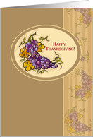 1st Thanksgiving as Couple with Grapes, Leaves and Branches, Holiday card