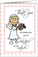 Thank You for Hairdresser & Makeup Artist with Stick Figure Bride card