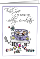 Thank You for Wedding Coordinator with Bride & Groom, Stick Figures card