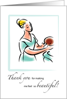 Thank You for Makeup Artist and Hairdresser with Illustration, Wedding card
