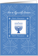 Sister Hanukkah Wishes Blue Menorah, Jewish Holiday card