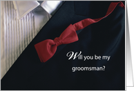 Will You be my Groomsman? Invitation with Red Tie and Tuxedo, Wedding card