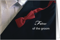 Thank You for Father of the Groom, Red Tie with Black Tuxedo, Wedding card