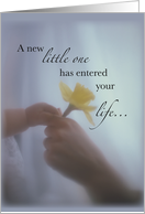 Congratulations on Becoming an Aunt, New Baby, Hands & Yellow Flower card