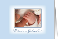 Will you be my Godmother? Baby Boy Baptism with Hands, Religious card