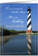 Birthday to Birth Mom with Cape Hatteras Lighthouse, Nautical, Sea card