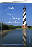 Birthday to Godson with Cape Hatteras Lighthouse, Nautical, Sea card