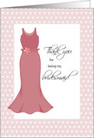 Thank You Bridesmaid with Apple Color Dress, Wedding card