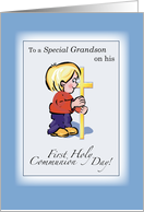 GRANDSON First Communion Congratulations with Little Boy and Cross card
