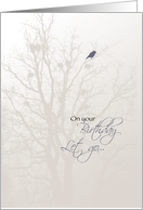 Recovery Birthday with Bird & Tree, 12 Step Recovery, Let Go Let God card