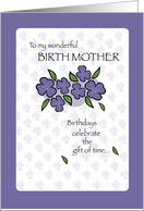 BIRTH MOTHER Birthday with Violets and Leaves, Flowers card