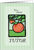 Tutor Thank You with Apple Tree, Nature, Illustration card