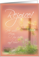 Rejoice Easter Resurrection, Cross & Plants card
