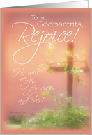 Godparents Rejoice, Easter Religious with Cross & Plants, Christian card