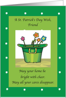 FRIEND Hat and Flowers St. Patrick's Day card
