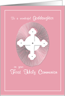 GODDAUGHTER First Communion Pink, Religious card