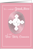 GRAND NIECE First Communion Pink and Cross, Religious card