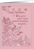 Step-Mother on Mother's Day Pink Paisley card