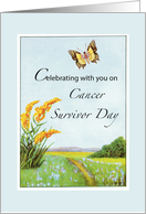 Cancer Survivor Day Congratulations with Butterfly and Wildflowers card