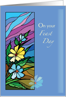 Feast Day Blessings with Wildflowers, Christian, Religious card
