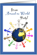 Around the World Invitation, Theme Party card