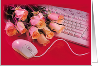 Boss's Day with Roses, Computer Mouse and Keyboard on Red, Holiday card