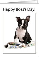 Dog with Newspaper Happy Boss's Day card